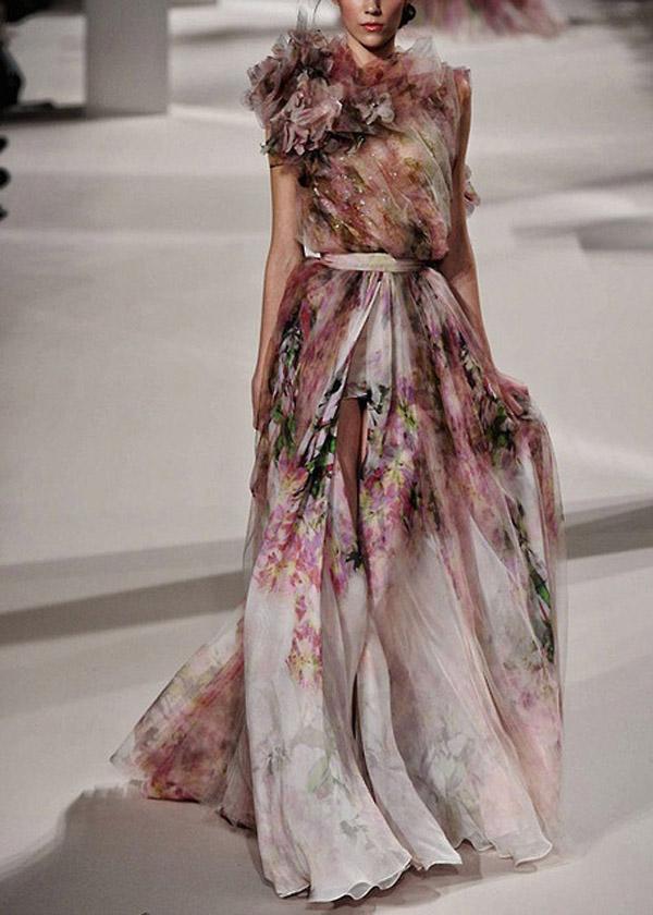 Glam elie saab floral dress. Would be such a unique wedding dress!