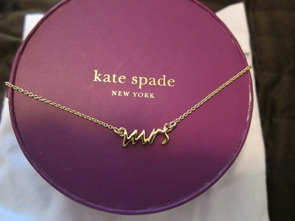 mrs, necklace, jewelry, bride, gold, gold chain, kate spade, wedding, post-wedding