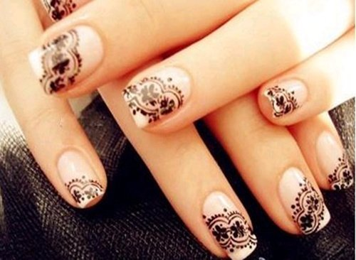 Wedding Nail Manicure Bridal Nails Mani Art Design Beauty Simple Lace Awesome
