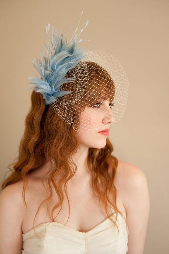 something blue, bridal traditions, wedding traditions, bride, groom, wedding, wedding inspiration, wedding veil, blue feather, feather, feather hairpiece