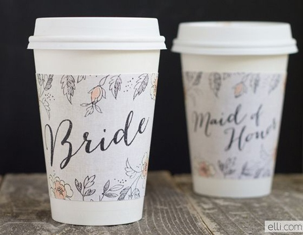 wedding coffee cup holders, bride coffee cup holder, maid of honor coffee cup holder, printable wedding coffee cup holder, printable wedding favors, printable wedding ideas, printable wedding inspiration