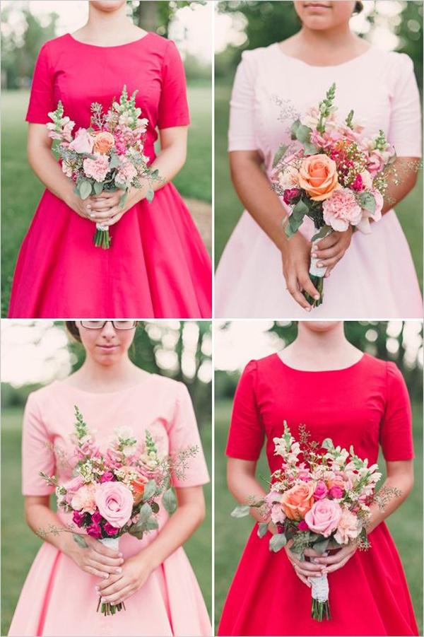 pink 3/4 sleeve bridesmaids dresses