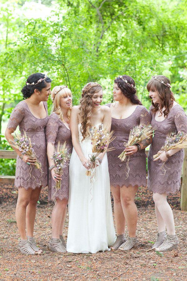 purple lace 3/4 sleeve bridesmaids dresses