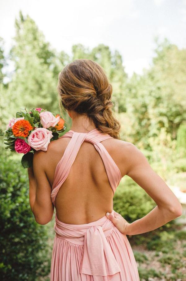 pink backless bridesmaids dress