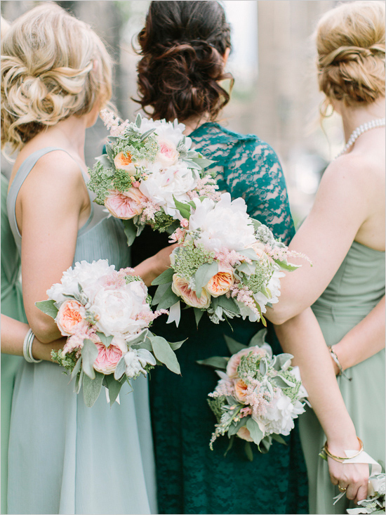 Teal and mint bridesmaid dresses