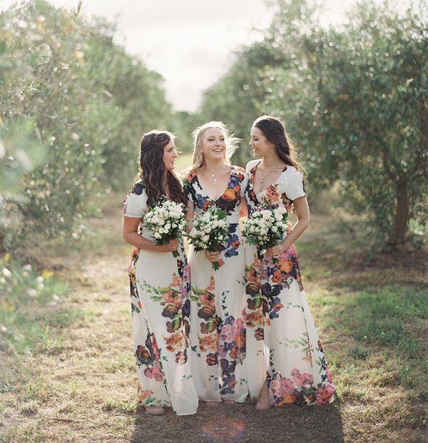 long floral bridesmaids dresses
