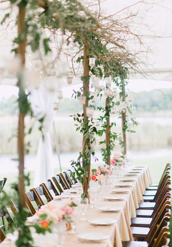 leaf wedding reception decor
