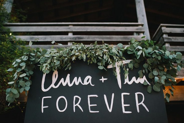 leaf wedding decor signage