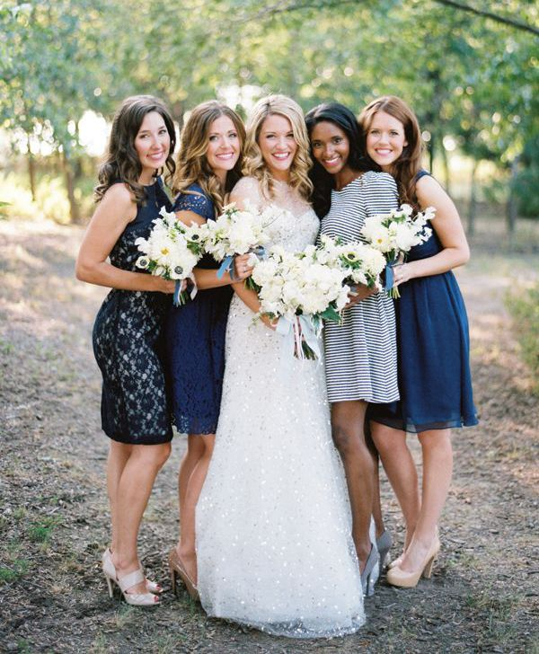 blue patterned bridesmaids dresses