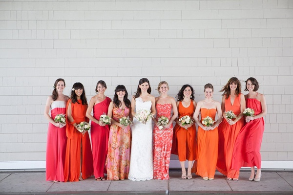 pink and orange patterned bridesmaids dresses