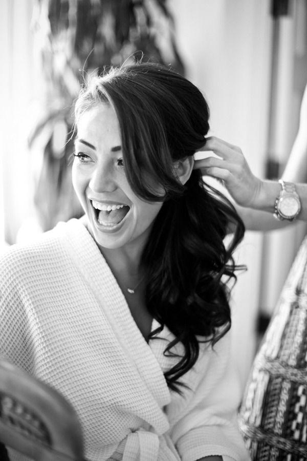 bride curled side ponytail