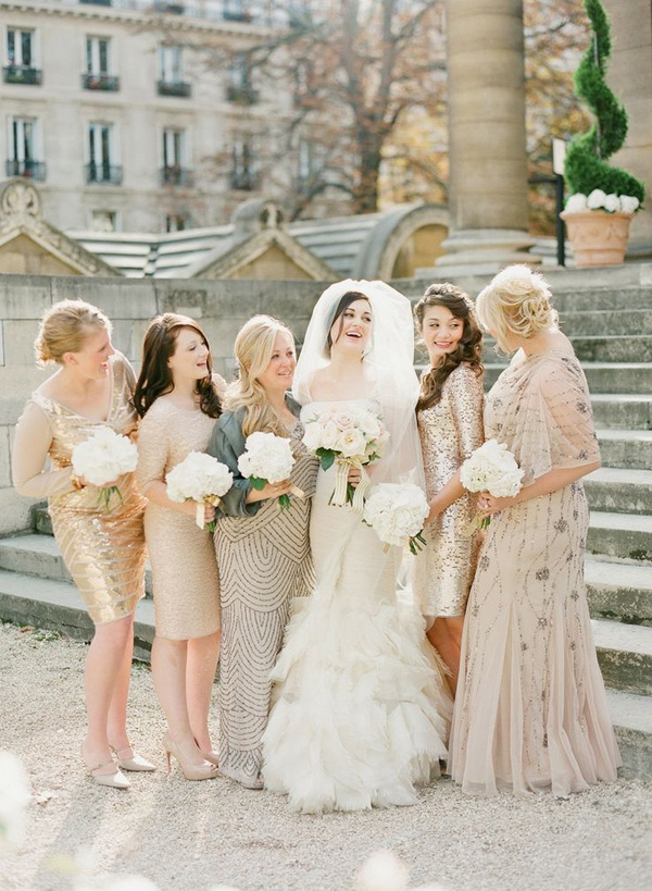 shimmery neutral bridesmaids dresses