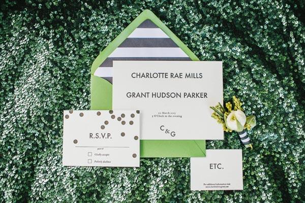 black white gold wedding invitations