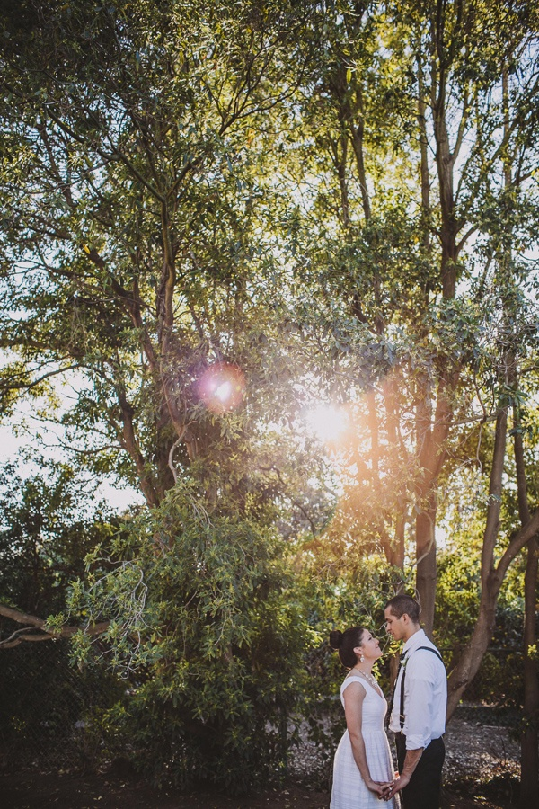 bride groom backyard wedding photo