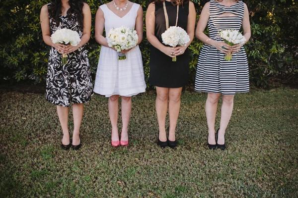 preppy black white bridesmaids