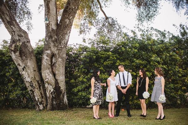 bride bridesmaids groom photo
