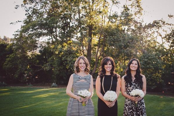 black white print bridesmaids