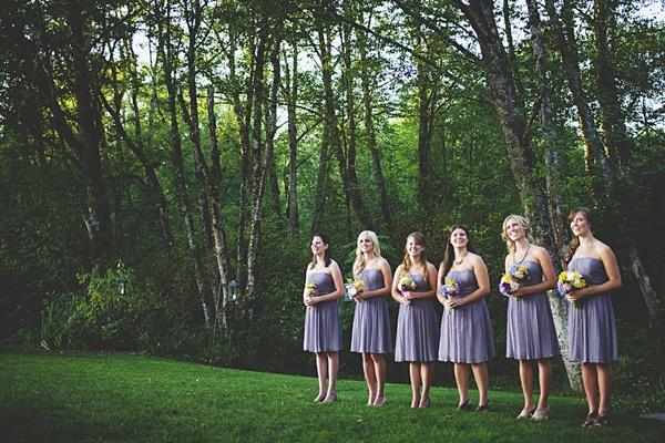 bridesmaids lilac dresses wedding ceremony