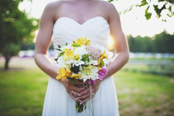 bride wedding dress bouquet photo