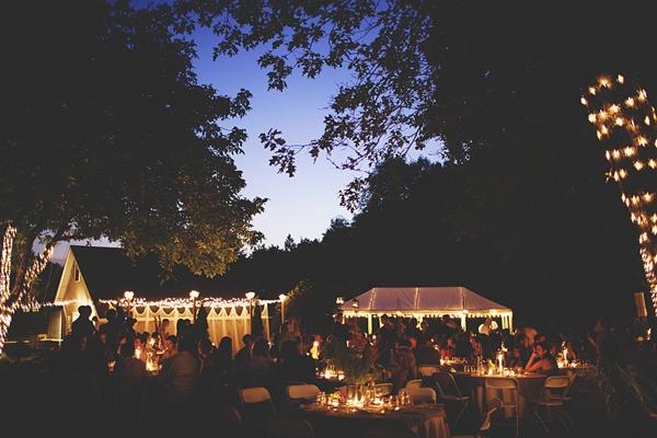 outdoor farm wedding night decor