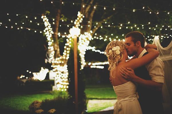 bride groom first dance night photo