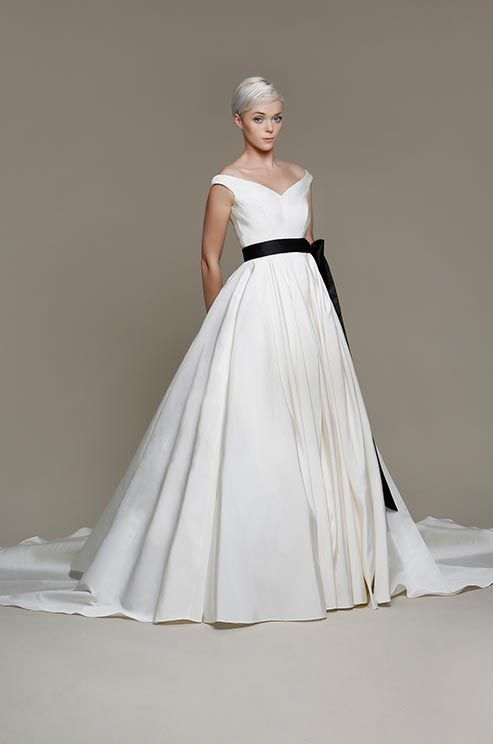 white wedding dress black sash