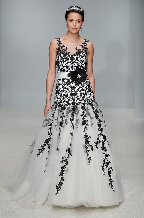 black and white floral wedding dress
