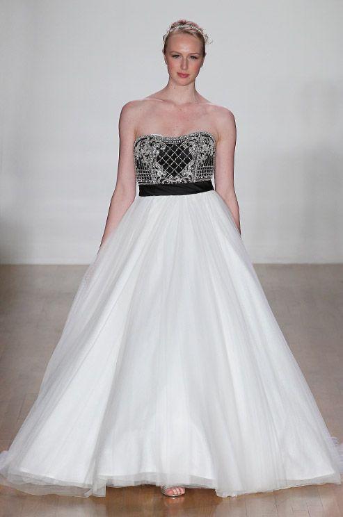black and white strapless wedding dress