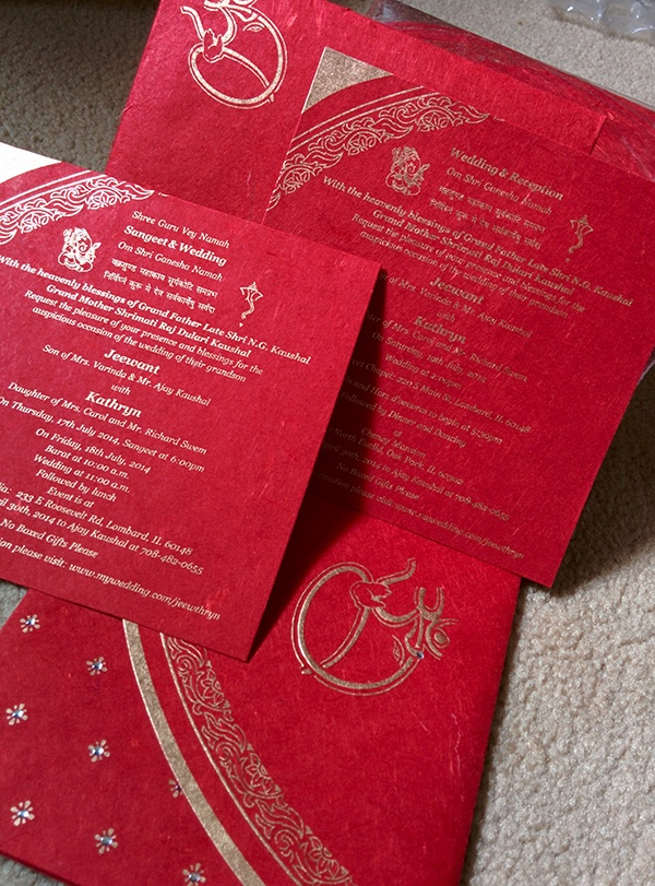red gold hindu wedding invitation
