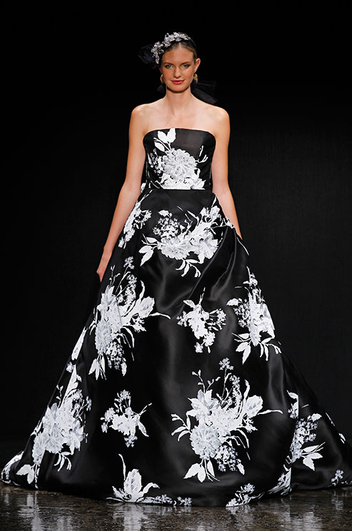 black and white floral wedding gown