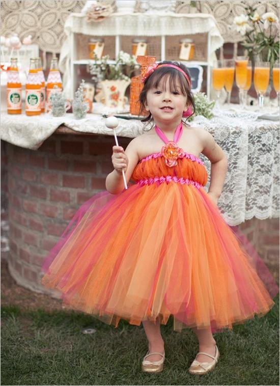 Flower girl trends tulle dresses wedpics blog orange tulle flower girl dress mightylinksfo