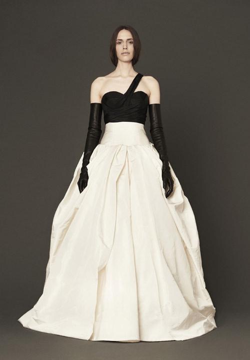 vera wang black and white wedding dress
