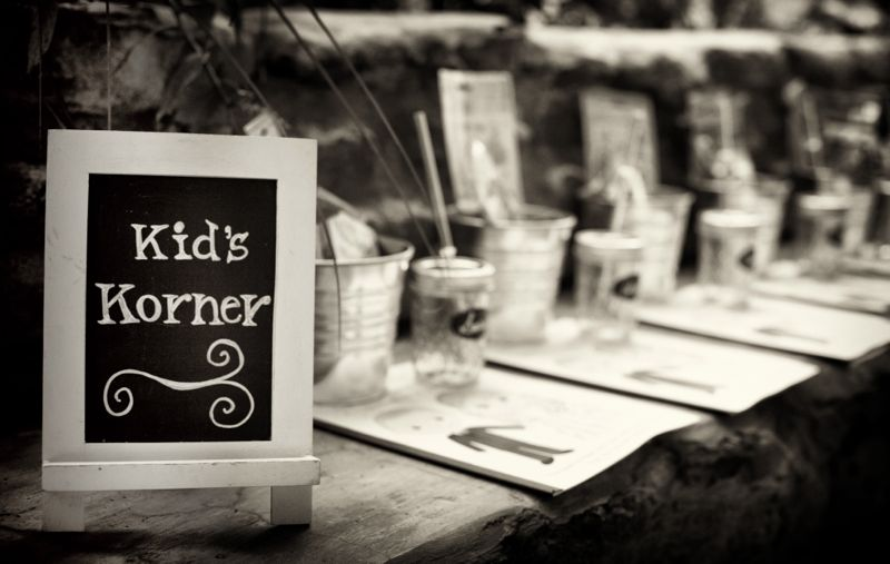 kids craft corner wedding