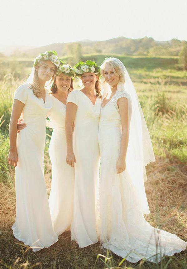 white bridesmaids maxi dresses