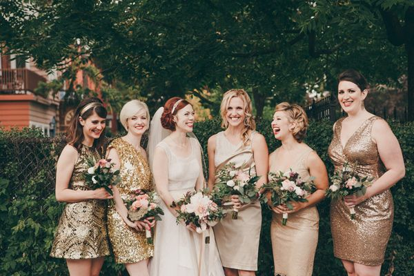 Gold Bridesmaid | Rose Gold Bridesmaids Dresses A Unique Bridal Party Look Wedpics