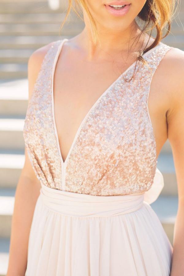 rose gold bridesmaids dress