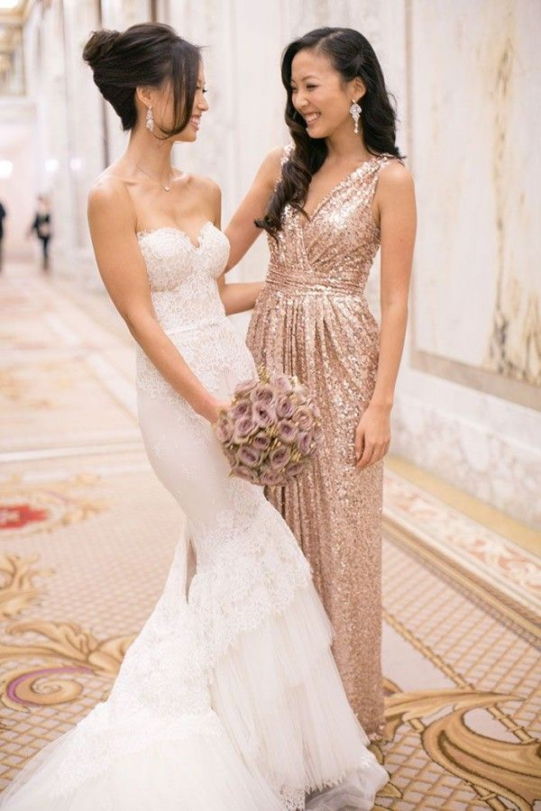 Rose gold bridesmaids dresses: a unique bridal party look! — Wedpics ...