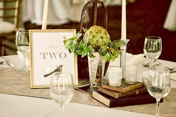 Wedding Centerpieces Books Mercury Glass Artichokes Ivy Candlesticks Classic