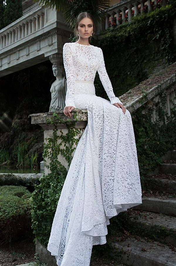 Totally glam lace wedding dress with long sleeves