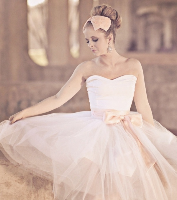 Blush tea length tulle wedding dress by Ouma, under $500!