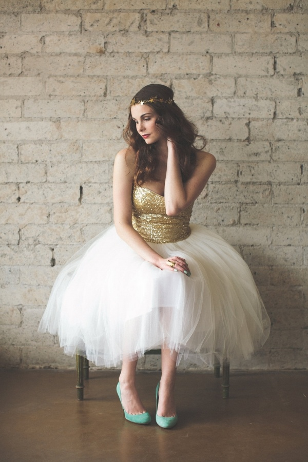 Stunning gold sequined wedding dress by Ouma, under $500