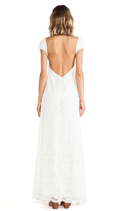 Lovely low back on this lace wedding dress under $500!