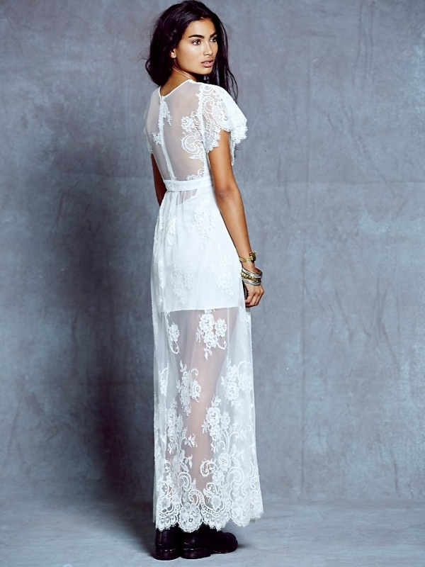 Love the illusion back on the ethereal lace maxi from Free People! It makes the perfect wedding dress and it's under $500!