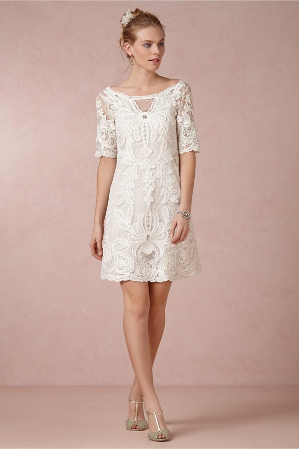 Exquisitely embroidered short wedding dress under $500