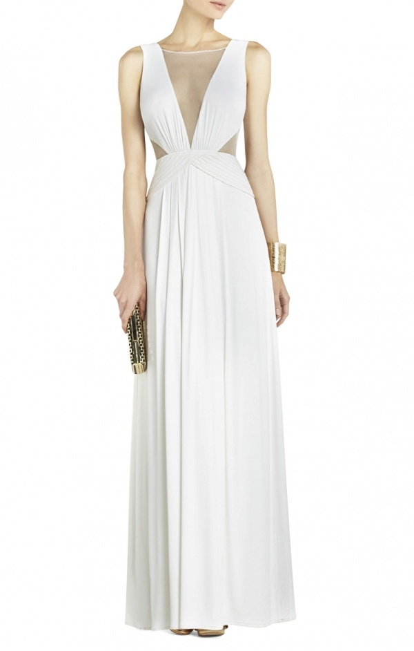 Gorgeous gown with illusion neckline details by BCBG under $500