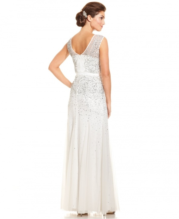 Gorgeous illusion neckline jeweled wedding dress under $500