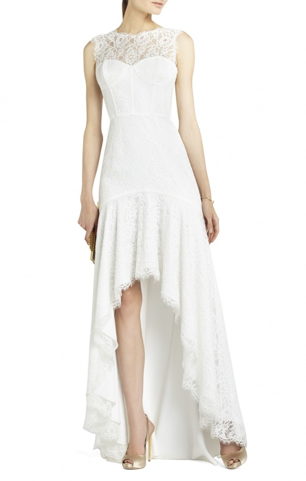 Classic lace high low gown by BCBG under $500