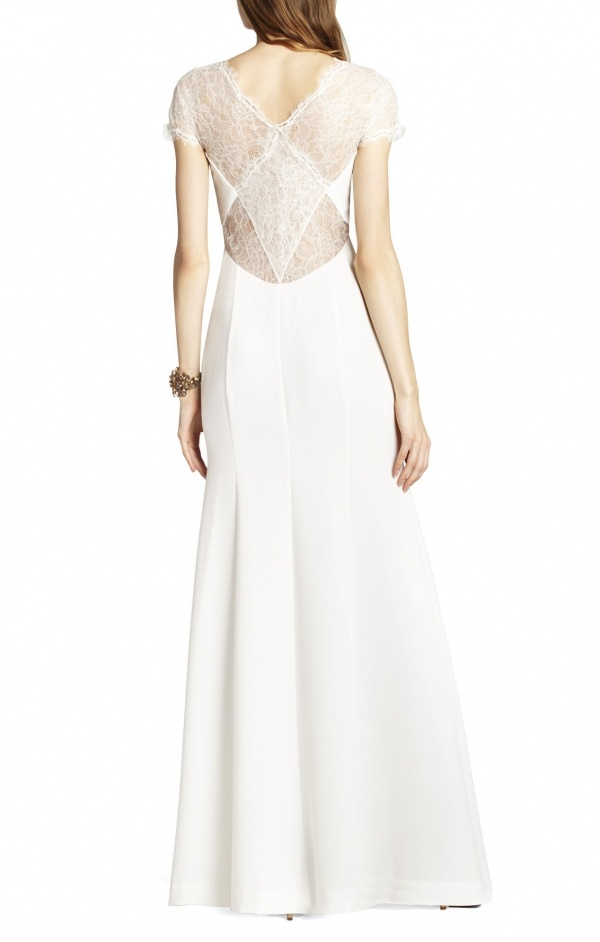 Lovely lace back detailing on this gorgeous BCBG wedding dress, under $500