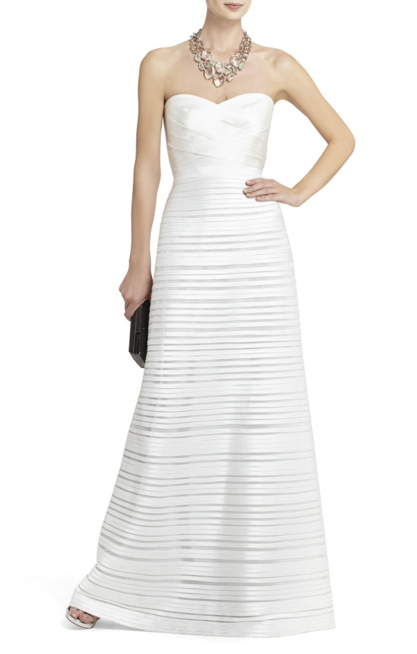 Piping and a sheer detail design add modern dimension and texture to this elegant gown under $500!
