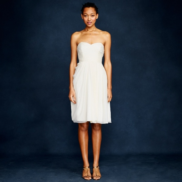 Beautiful swide swoop silk chiffon wedding dress from J Crew under $300